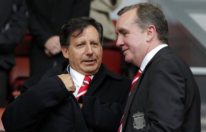 Liverpool FC Chairman Tom Werner (L) and Managing Director Ian Ayre