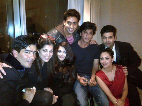Shah Rukh Khan seen with Karan Johar and others post TOIFA Awards