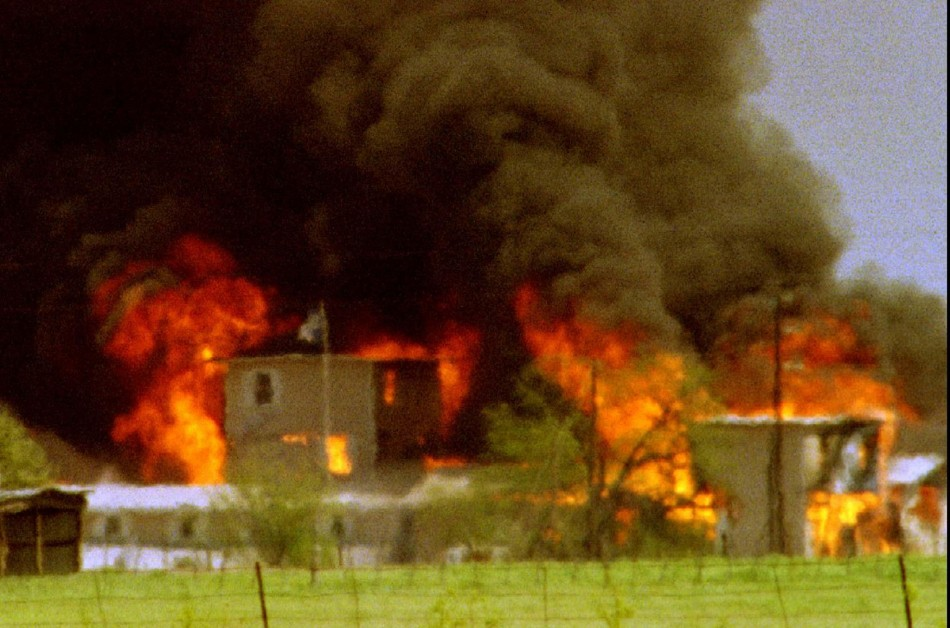 The Mount Carmel complex burns in Waco, April 19, 1993