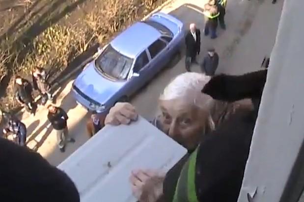 Hanging on: 97year-old Angela Artyomova