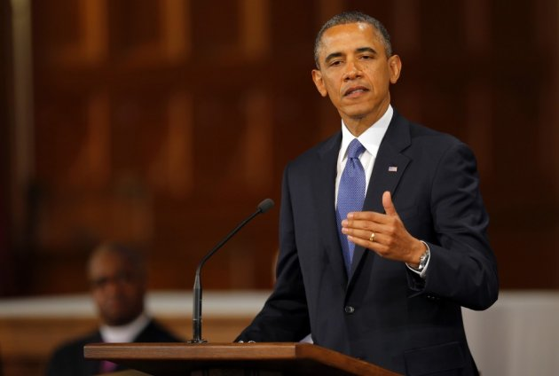 U.S. President Barack Obama speaks at an interfaith memorial service for the victims of the bombing at the Boston Marathon
