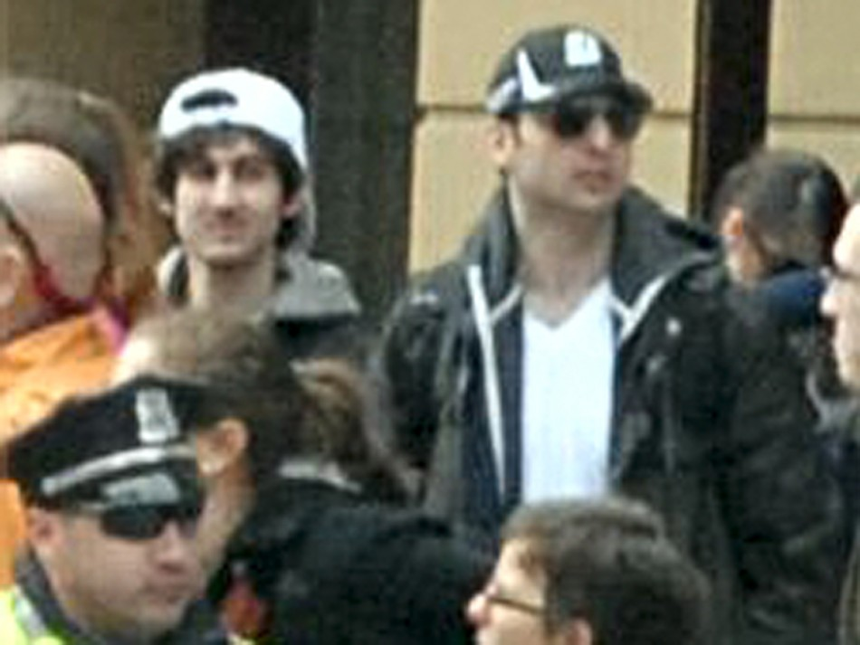Dzhokhar (L) and Tamerlan Tsaraev (R) captured on video at the Boston marathon.