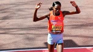 Priscah Jeptoo of Kenya runs on her way to winning the women's marathon at the London Marathon in London April 21, 2013