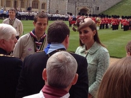 Kate Middleton is introduced to VIPs by Chief Scout, Bear Grylls (Photo: @MrKarlCooper on twitter)