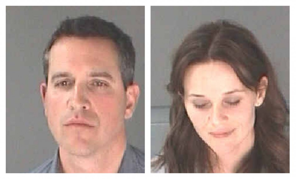 A combination photo shows actress Laura Witherspoon (Reese Witherspoon ) and her husband James Toth (L) after their arrest for D.U.I./Alcohol, Driving in proper lane for Toth and DC SEC 7-Phys Obstruct/another for Witherspoon in Atlanta Department of Corrections handout photo released to Reuters on April 21, 2013. Oscar-winning actress Reese Witherspoon was arrested in Atlanta for alleged disorderly conduct after her husband, talent agent James Toth, was stopped by police on suspicion of drunken driving, online Hollywood magazine Variety reported on Sunday.