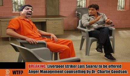 BREAKING Liverpool striker Luis Suarez to be offered AngerManagement counselling by Dr. Charlie Goodson.
