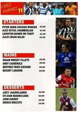 Look at the menu Luis Suarezs new gaff ......Im in tears