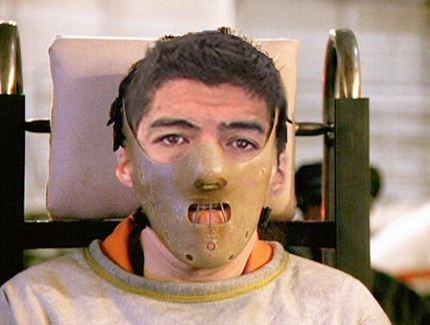 Luis Suarez being transported to the FA for his hearing after treating Ivanovic for an ear of corn at Anfield