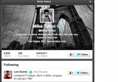 Mike Tyson Follows Luis Suarez on Twitter