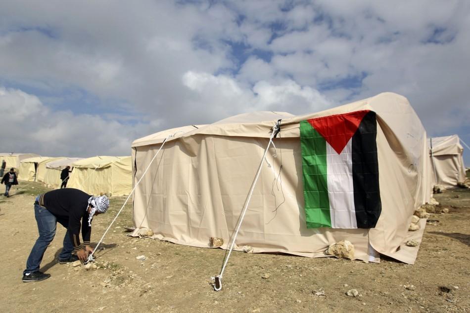 Palestinian activists set up tents near the E1 settlement area outside Jerusalem