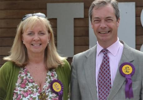 Ukip candidate for Crowborough Anna-Marie Crampton with party leader Nigel Farage