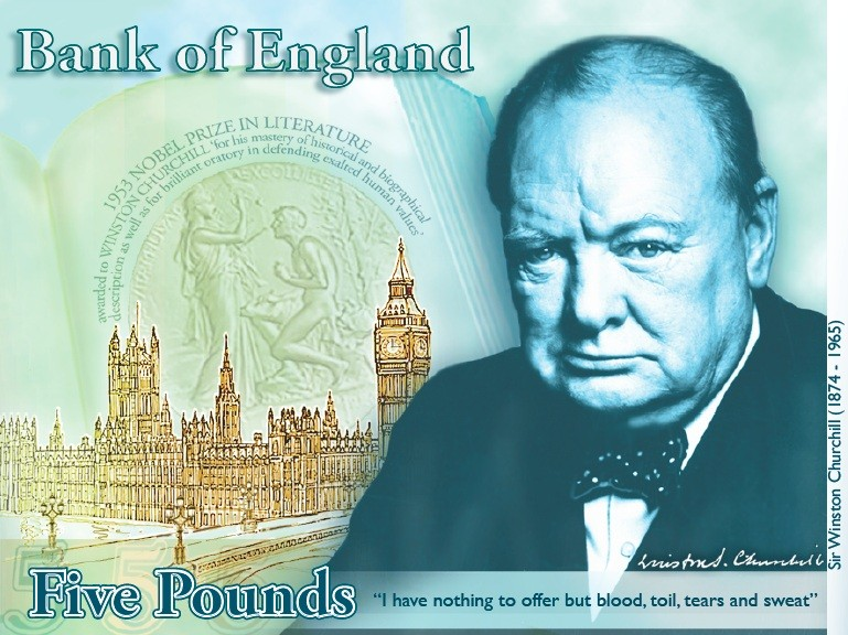 Winston Churchill five pound note