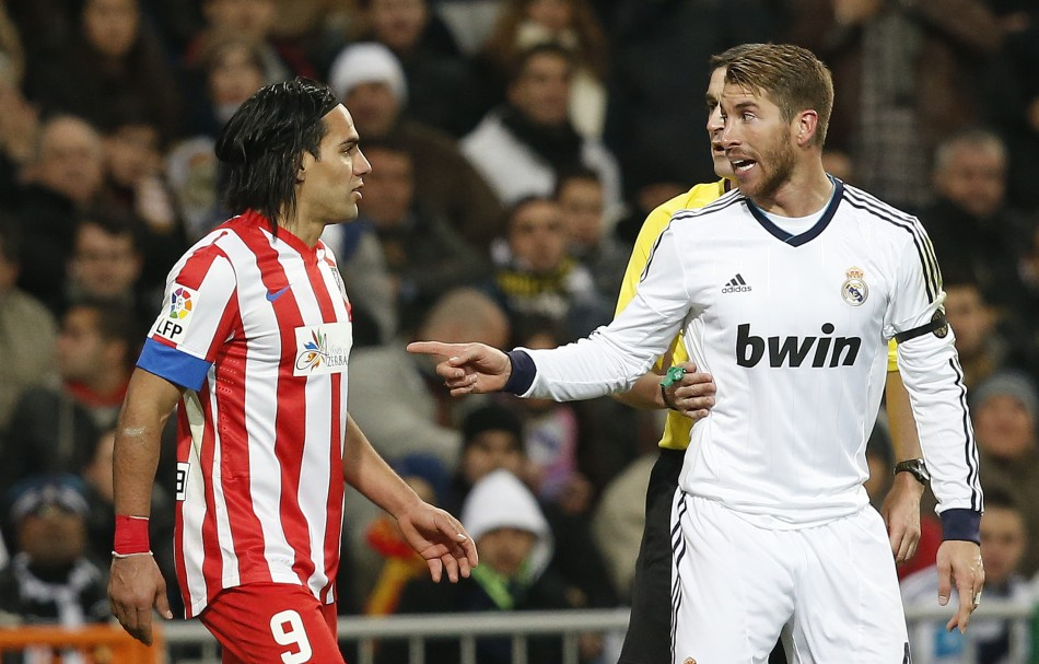 Radamel Falcao and Sergio Ramos during the Madrid derby