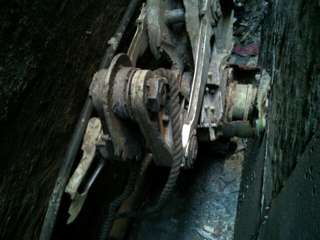 The landing gear of one of the planes that crashed into the WTC