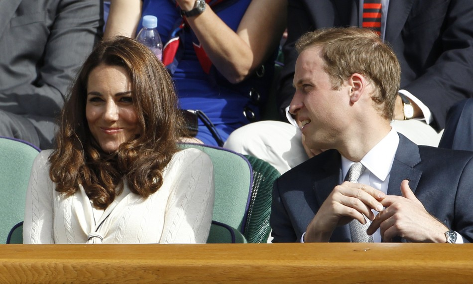 The royal couple sit on Centre Court for the mens quarter-final tennis match between Andy Murray of Britain and David Ferrer of Spain at the Wimbledon tennis championships in London July 4, 2012.