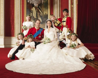 Prince William and Duchess of Cambridge, posing for an official photograph, with their bridesmaids and pageboys, on the day of their wedding, in the throne room at Buckingham Palace, in central London April 29, 2011.