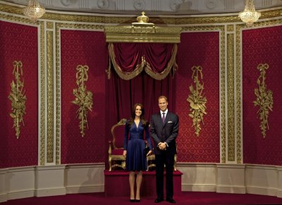 Waxwork models of Prince William and his wife Catherine, Duchess of Cambridge are unveiled at Madame Tussauds in London April 4, 2012.