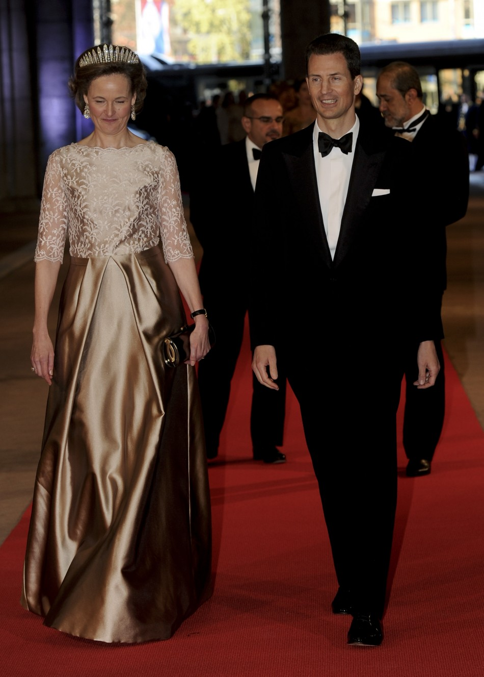 Crown Prince Alois of Liechtenstein R and Princess Sophie arrive at a gala dinner organised on the eve of the abdication of Queen Beatrix of the Netherlands and the inauguration of her successor King Willem-Alexander at the Rijksmuseum in Amsterdam Apri