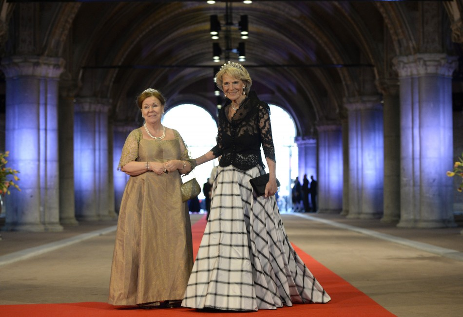 Dutch Princess Irene R and Princess Marijke, sister of Queen Beatrix, arrive at a gala dinner organised on the eve of the abdication of the Queen and the inauguration of her successor King Willem-Alexander at the Rijksmuseum in Amsterdam April 29, 2013.