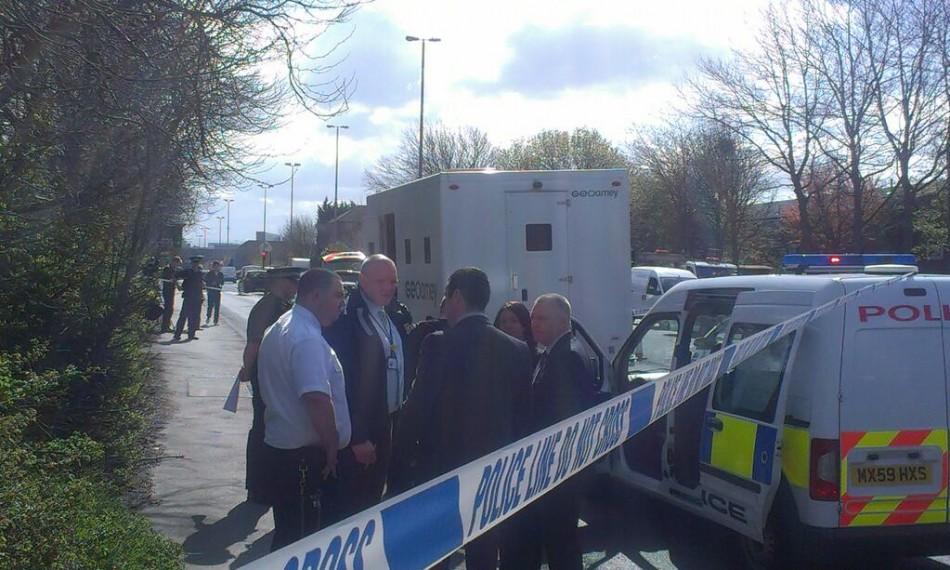 The police van was ambushed at Regent Road in Salford (@MikeKeeganmen)