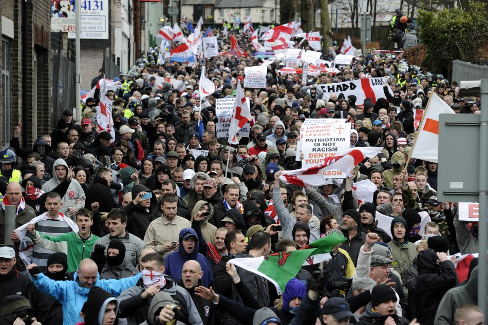 The group plotted to attack the EDL at a rally in Dewsbury (Reuters)