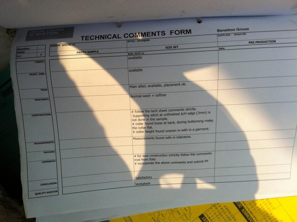 Benetton technical form