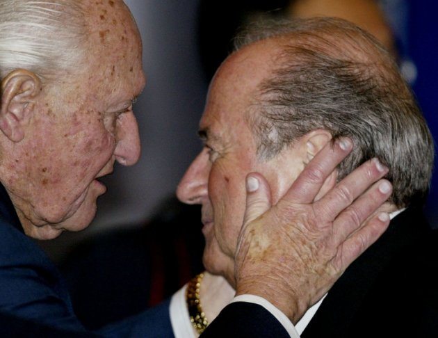 Final disgrace: Joao Havelange with Sepp Blatter