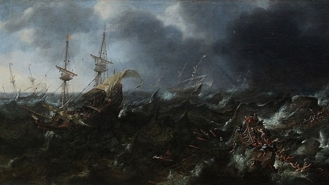 © Wikimedia commons The Battle of Lepanto, Andries van Eertvelt.