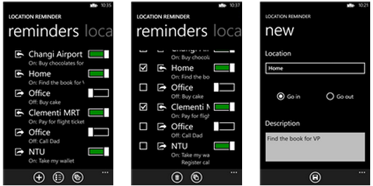 Windows Phone apps Location Reminder