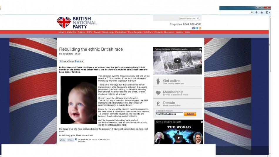 BNP blog posting urging 'nationalists' to procreate.