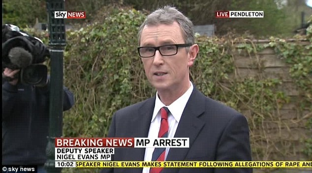 MP Nigel Evans delivers his statement this morning