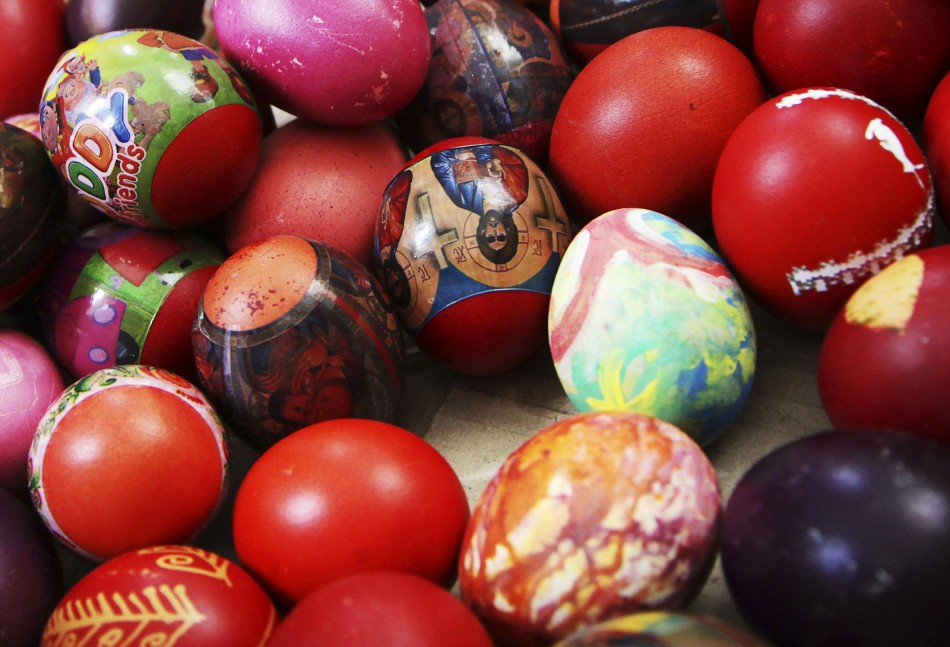 Easter eggs are seen during an Orthodox Easter mass at Saint Sava church in Mitrovica, May 5, 2013. Ethnic Serbs from the Serb-dominated northern part of the ethnically divided town of Mitrovica cross the bridge to attend a mass at Saint Sava church locat