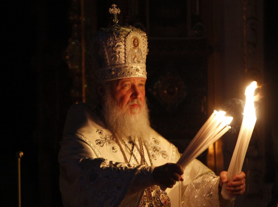 Kirill, Patriarch of Moscow and All Russia, leads an Orthodox Easter service in the Christ the Saviour Cathedral in Moscow May 4, 2013.