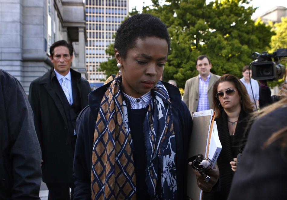Lauryn Hill outside Newark court in New Jersey
