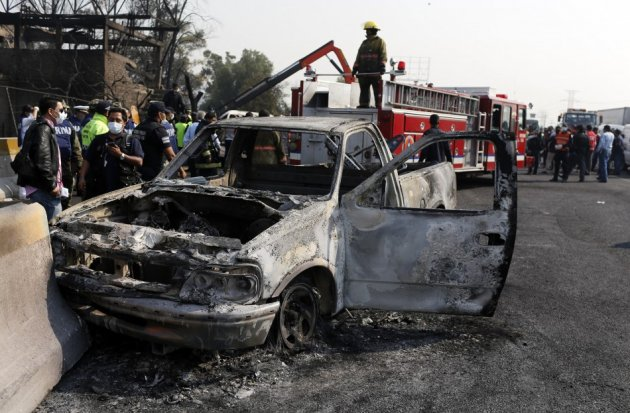 Traffic near the Mexico City fuel tanker blast were reduced to cinders