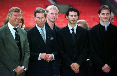 September 19 1997 Prince Charles with Manchester Ferguson and players David May 3rd L, Ryan Giggs 2nd R and David Beckham. The official visit to Greater Manchester that day was the Princes first since the funeral of Diana, Princess of Wales.