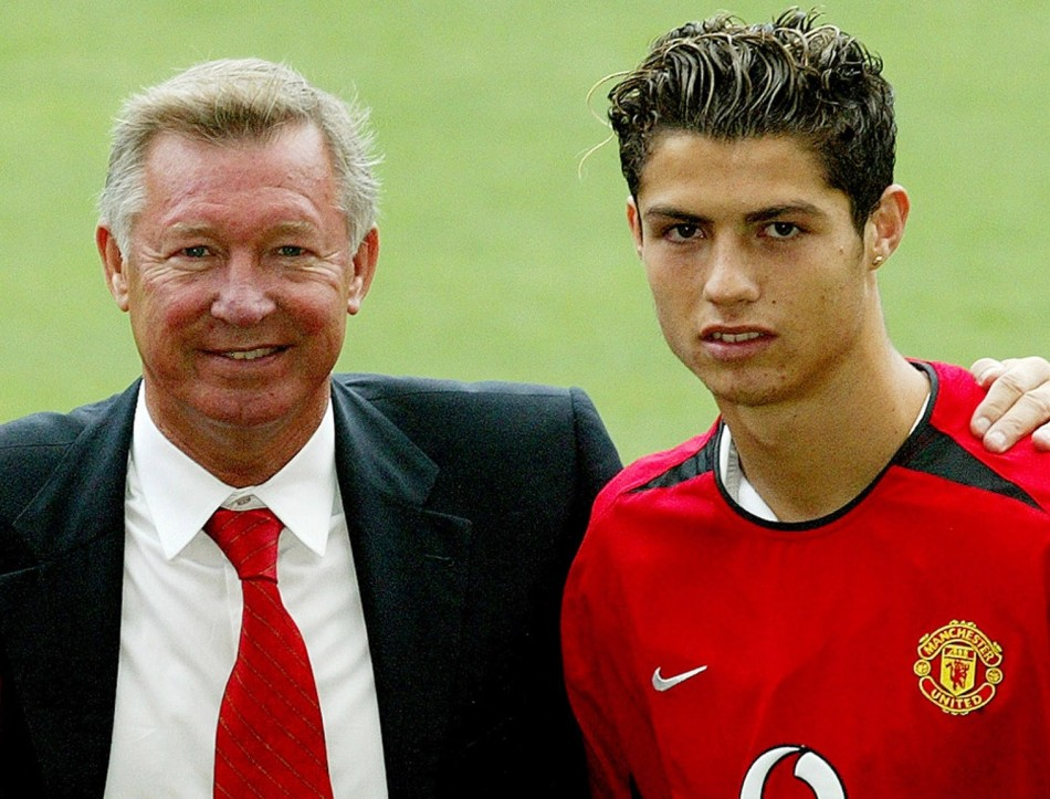 August 13 2003 New United signing and Cristiano Ronaldo with Ferguson at Old Trafford. Ronaldo became Uniteds first-ever Portuguese player when he arrived at Old Trafford fro 12.24m from Sporting Lisbon. He would go on to become one of the best footbal