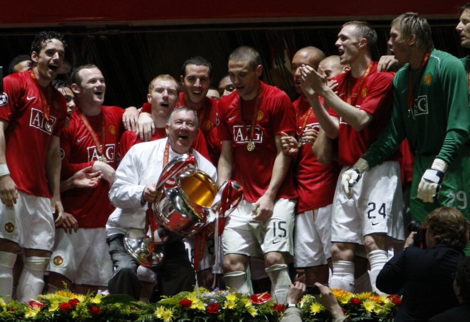 May 22 2008 Ferguson celebrates his second European triumph. United, who had won the Premier League that season, beat Chelsea in the Champions League final in Moscow to become European champions again.
