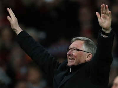 April 22 2013 Ferguson celebrates after United clinched their 20th league title with a win against Aston Villa at Old Trafford.