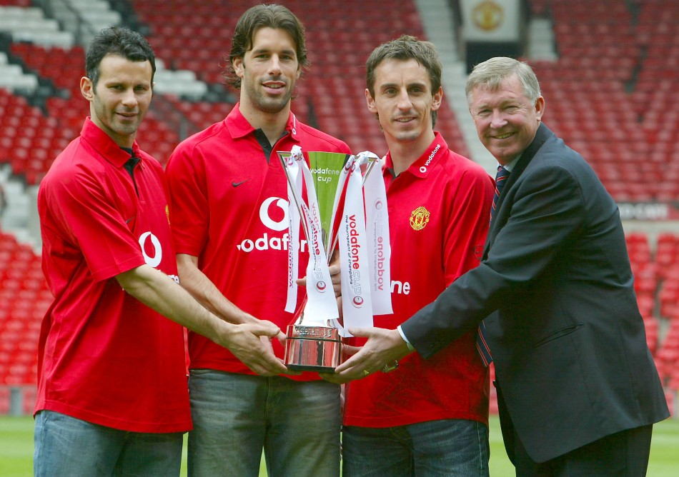 (From L to R) Ryan Giggs, Ruud van Nistlerooy, Gary Neville and Sir Alex Ferguson