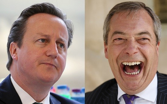 Cameron (l) ruminates as Nigel Farage's party win Toy votes