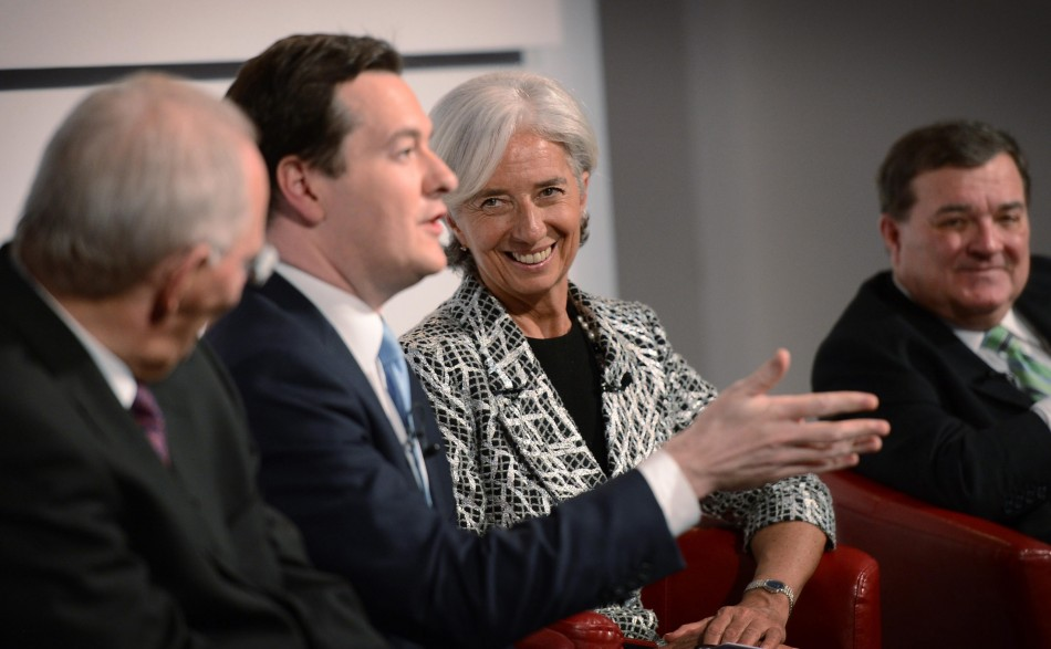 Britain's Chancellor of the Exchequer George Osborne (2nd L) speaks, as he sits next to the German Federal Minister of Finance Wolfgang Schauble (L), the Managing Director of the International Monetary fund, Christine Lagarde (2nd R), and Canada's Ministe