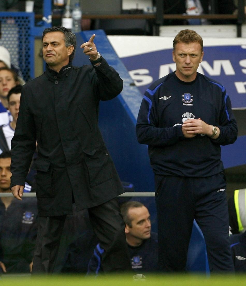 Jose Mourinho (L) and David Moyes