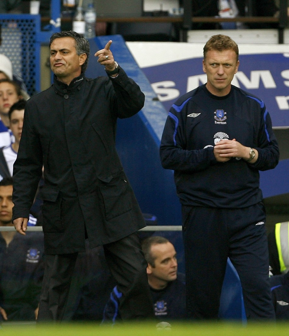 Jose Mourinho (L) and David Moyes