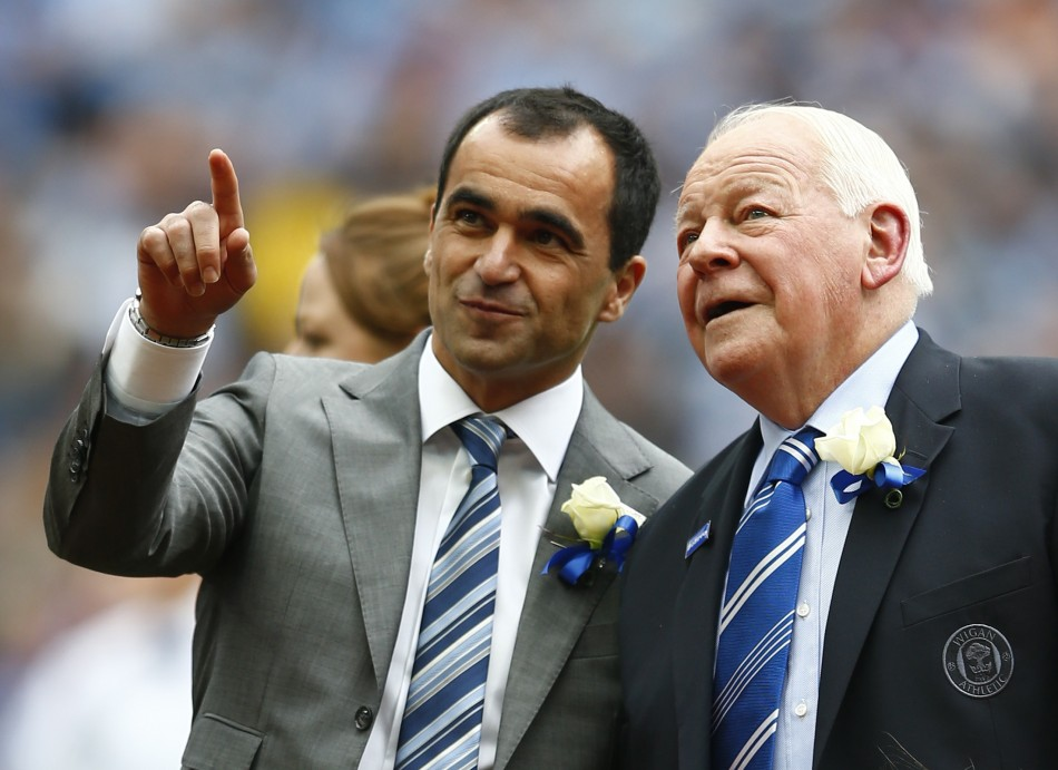Roberto Martinez and Dave Whelan of Wigan Athletic