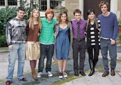 Robert Pattinson with Harry Potter cast