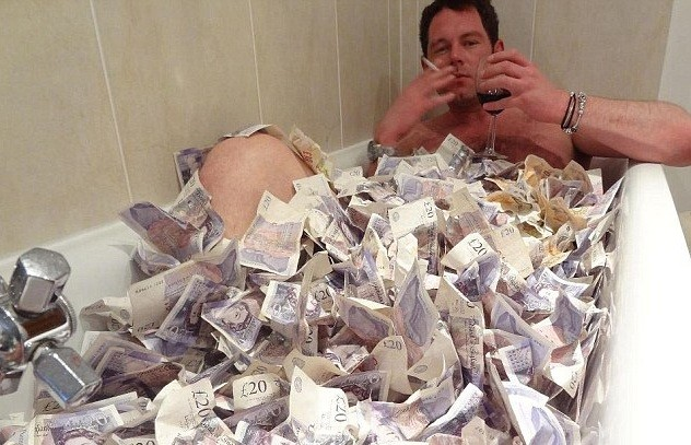 Living it up: Matthew Ghent issued snaps revelling in his wealth