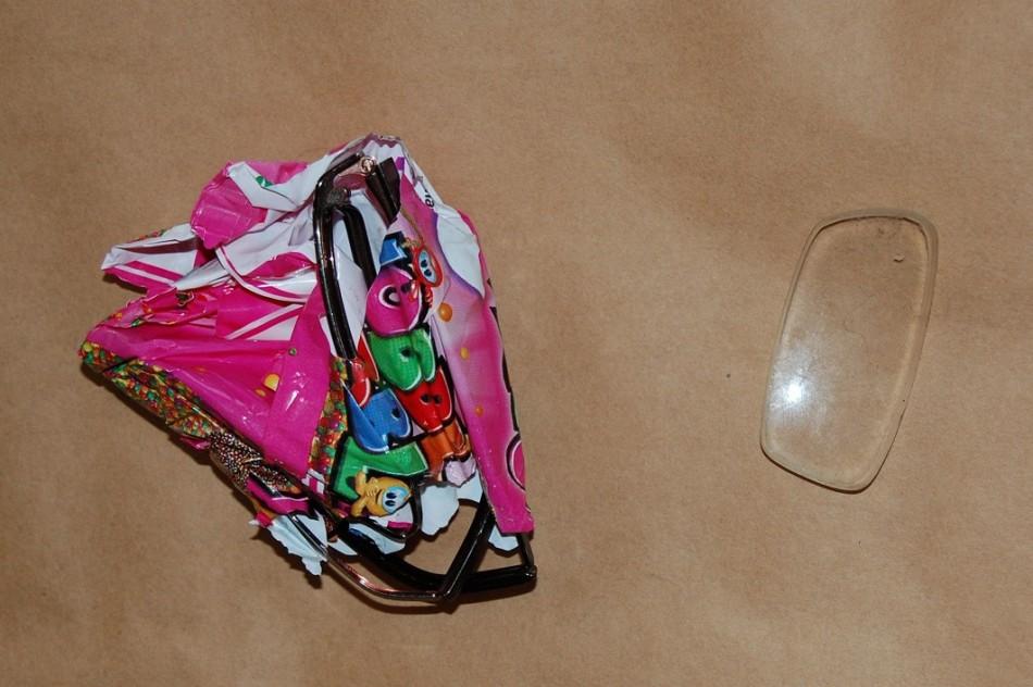 Hazell's broken glasses wrapped in sweet wrapper