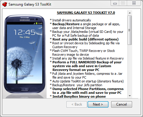 How to Install and Use Galaxy S3 Unified Toolkit v7.0 for Backup/Restore, Flashing ROM/Kernel and Rooting [Tutorial]