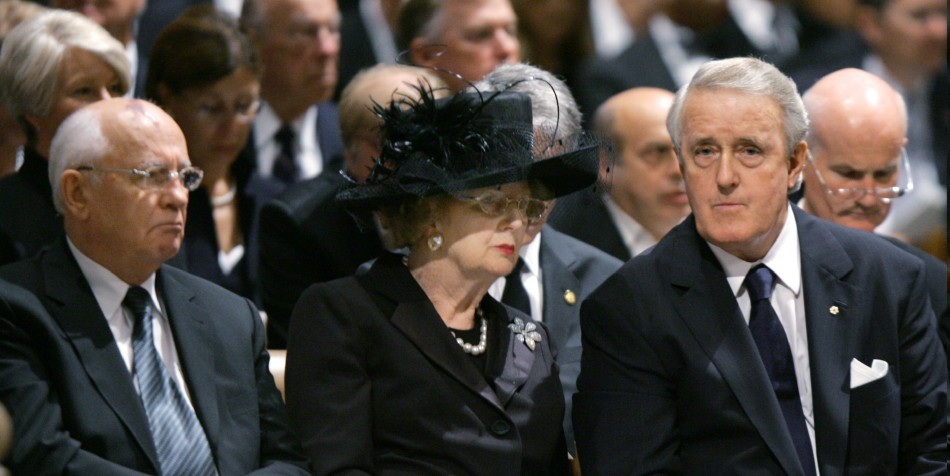 Archictects of liberalism: Former Soviet leader Mikhail Gorbachev, former British Prime Minister Margaret Thatcher, former Canadian Prime Minister Brian Mulroney (L-R) attend the state funeral of former U.S. President Ronald Reagan at Washington's National Cathedral June 11, 2004.